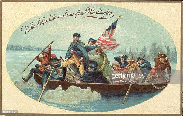 Postcard shows the iconic image of American soldier and politician George Washington as he crosses the Delaware River in a boat with his troops...