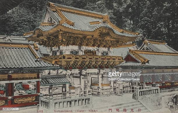 A postcard that features Yomeimon Gate in the Nikko Toshogu shrine the shrine is the burial place of the founder of the Tokugawa Shogunate which...