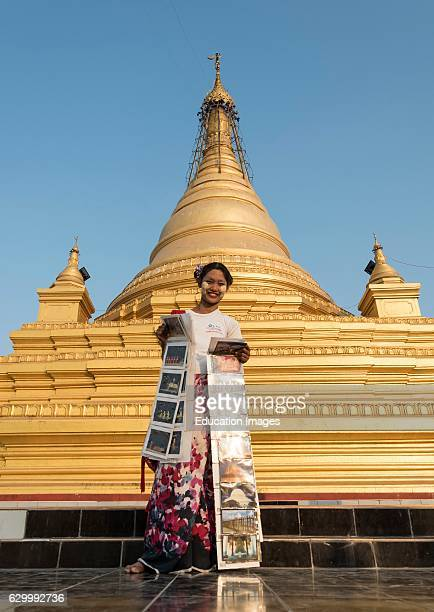 Postcard vendor at Sandamuni Sanda Muni Pagoda Paya Mandalay Burma Myanmar