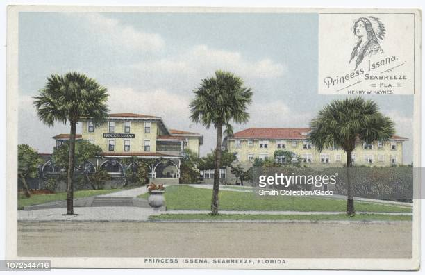 Postcard with a color image depicting the yellow, stucco, multi-story, Spanish-Revival facade of the Princess Issena Hotel, operated by Henry W...