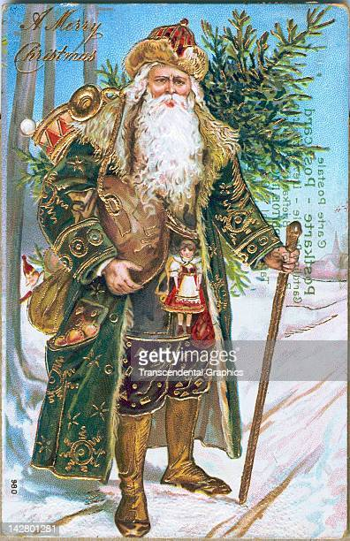 A postcard with a gold embellished Santa Claus in a green coat is issued in Germany circa 1910