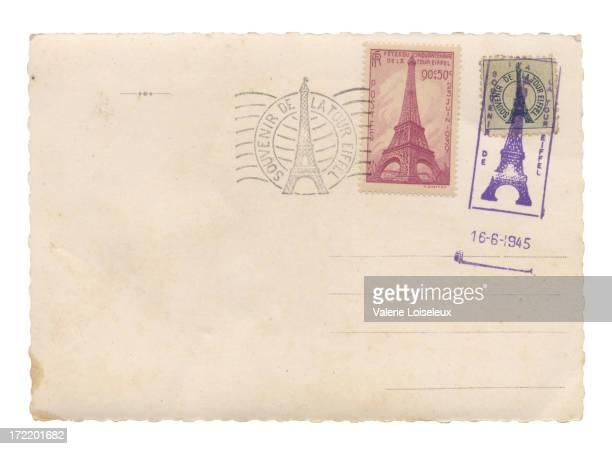 cartão postal com torre eiffel selos - marca postal - fotografias e filmes do acervo