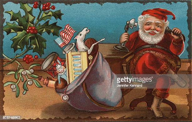 Postcard with Santa Claus Talking on a Candlestick Telephone
