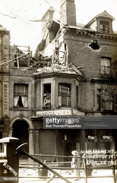 Postcards 25th April 1916 England A picture showing a World War I bombardment in Lowestoft with a badly damaged photographers shop in the town
