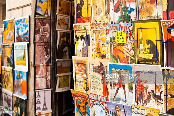 postcards and souvenirs from paris in montmartre, france - drawing artistic product stock pictures, royalty-free photos & images