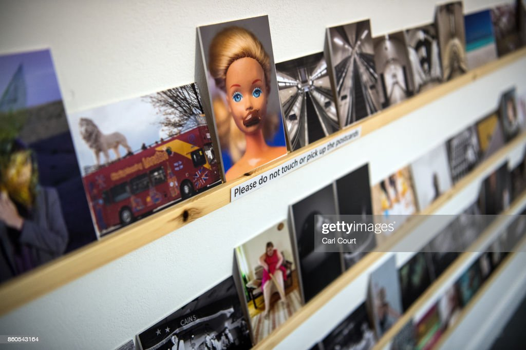 Postcards featuring images by photographers including Martin Parr and Wolfgang Tillmans are displayed ahead of a secret raffle at ThePrintSpace gallery on October 12, 2017 in London, England. The photographs will be on display from October 12- 24 and will be raffled on October 30 with all the money raised going to the Hepatitis C Trust's campaign to eliminate hepatitis C from the UK by the year 2030.