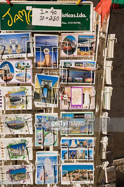 postcards for sale, lisbon, portugal - rack stock pictures, royalty-free photos & images