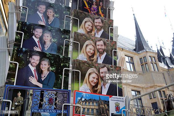 Postcards in front of the Palais Grand-Ducal are seen as Luxembourg prepares for its Royal Wedding, on October 12, 2012 in Luxembourg. Guillaume,...