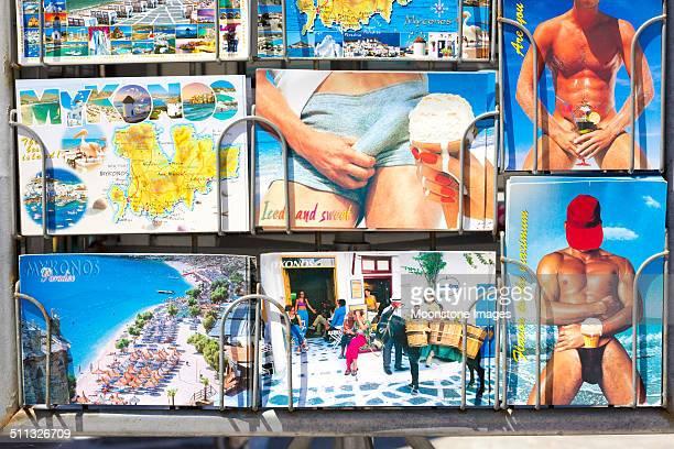 cartões postais em mykonos, grécia - ponto turístico - fotografias e filmes do acervo