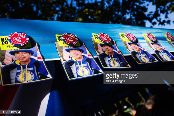 Postcards of antiBrexit activist Steve Bray are seen pinned to his group's merchandise stall on Park Lane during the protest A mass 'Together for the...