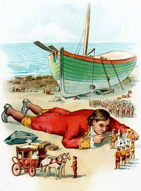 Postcards, Produced Circa 1900, The fictional story of Gullivers travels, A colour illustration of Mr, Lemuel Gulliver laying down on a beach talking...