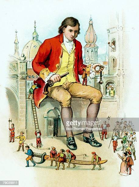 Postcards Produced Circa 1900 The fictional story of Gullivers travels A colour illustration of Mr Lemuel Gulliver sitting on a wall amongst some...