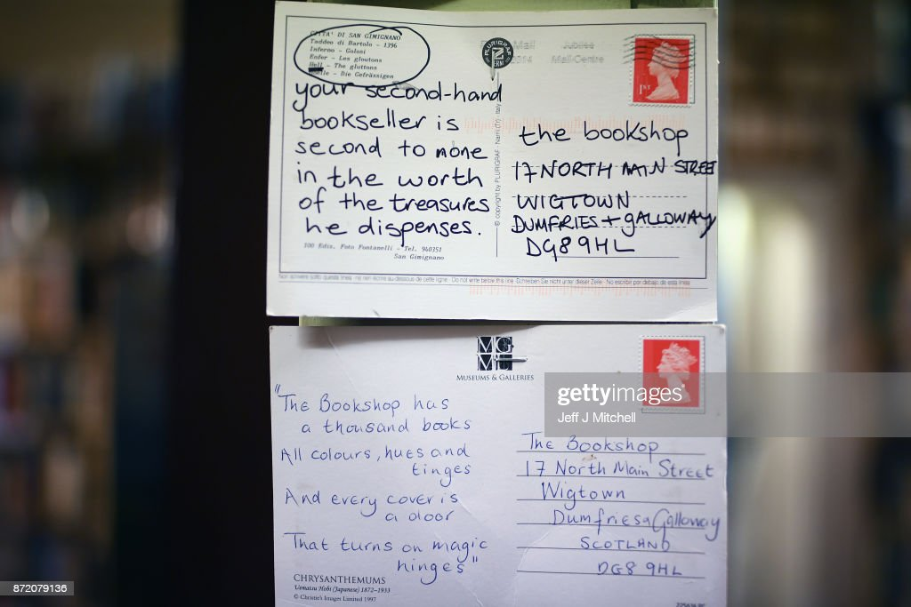 Postcards sent to The Book Shop, the largest second hand bookstore in the country on November 9, 2017 in Wigtown,Scotland. Wigtown has had official 'book town' status since 1998, with Mr Bythell owning Scotland's largest second hand book shop since 2001with a stock of over one hundred thousand books covering almost every imaginable subject.