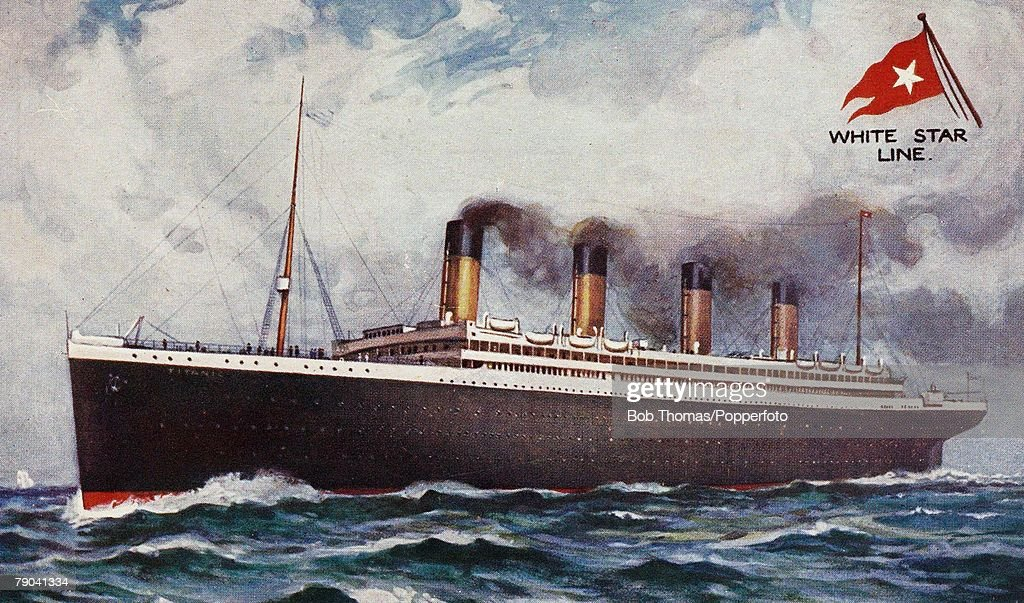 Postcards. Shipping. 1911. A picture of the white star triple-screw steamer the -Titanic+ which was launched at Belfast on the 31st May 1911 and was the largest vessel afloat at the time. On its maiden voyage- from Southampton to New York on the night of  : News Photo