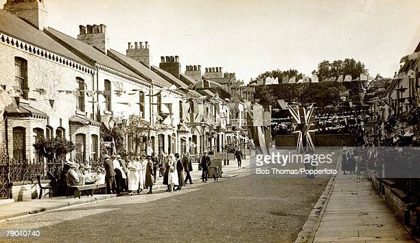 Postcards World War I A street party in Millfield road in York on 27th August 1919 to celebrate peace following the end of the war a year earlier