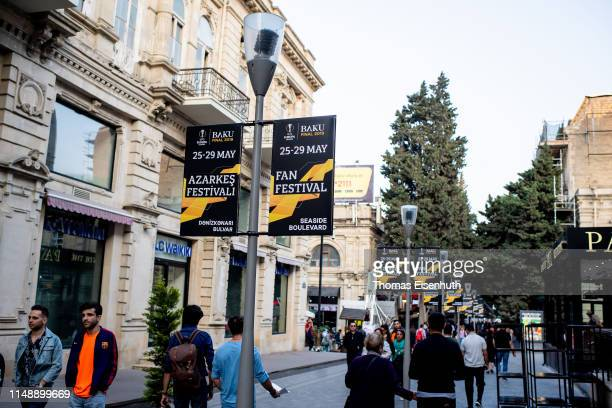 Poster ads for the UEFA Europa League Final 2019 between Chelsea FC and Arsenal FC and for the Fan Festival are seen on May 13 2019 in Baku Azerbaijan
