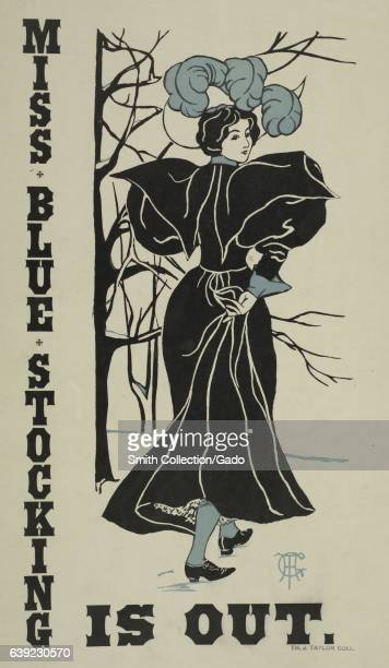Poster advertisement for a book titled Miss Blue Stocking is Out which depicts a woman in an elaborate dress looking behind her 1903 From the New...