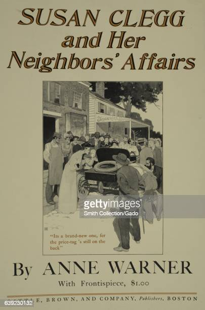 Poster advertisement for a book titled Susan Clegg and her Neighbors by Anne Warner which displays a crowd of people gathered around an old...