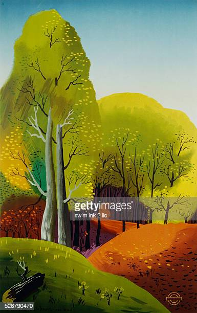 Poster Advertisement for the London Underground with Forest Scene by Edward McKnight Kauffer