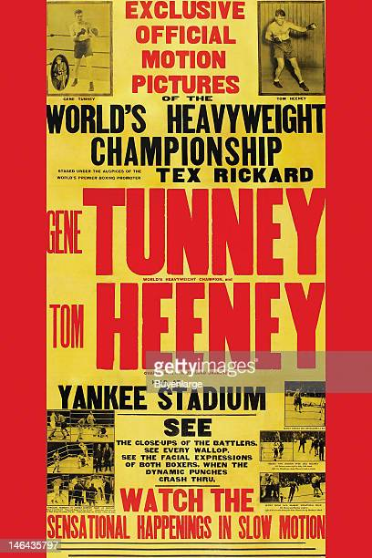 Poster advertises a boxing documentary film about the 1928 heavyweight championship bout in 1928 between Gene Tunney and Tom Heeney at Yankee Stadium...