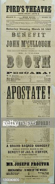Poster advertises a performance of 'The Apostate' starring John Wilkes Booth at Ford's Theatre less than a month before Boothe assassinated US...