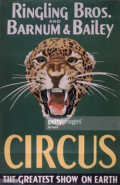 Poster advertises the Ringling Brothers and Barnum Bailey Circus features the head of a roaring leapard against a green background along with the...