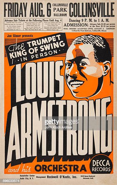 Poster advertises trumpet player Louis Armstrong and his Orchestra performing Live at the Collinsville Park Ballroom Collinsville Illinois August 6...