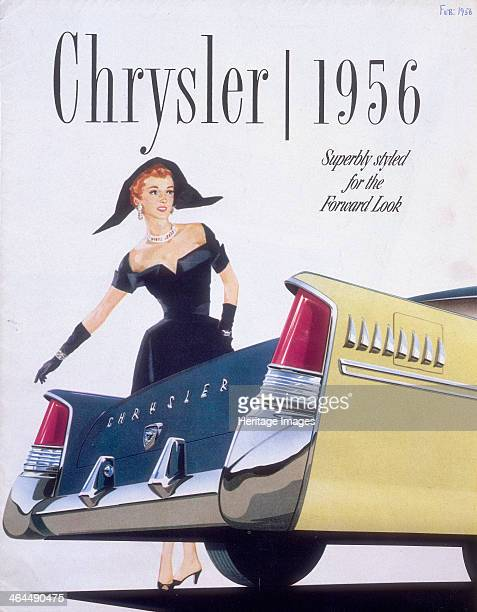 Poster advertising a Chrysler 1956 An elegant woman in a cocktail dress poses at the back of the car