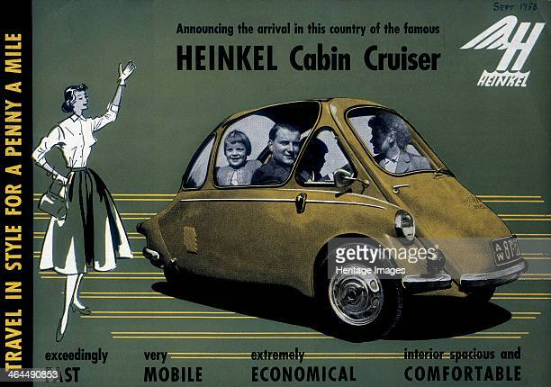 Poster advertising a Heinkel Cabin Cruiser 1956 A woman waves to a family driving by in their new Heinkel car