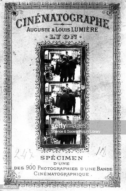 Poster advertising a Lumiere Brothers film show France c 1890s Auguste and Louis Lumiere were two French brothers who invented the Cinematographe...