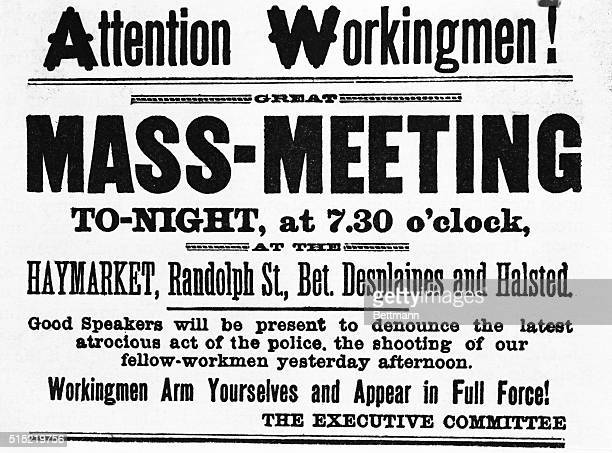 Poster advertising a massmeeting of workers on the evening after the Haymarket Square incedent of May 4th 1886