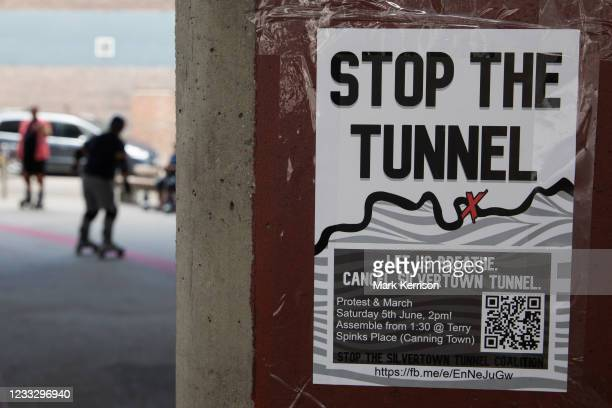 Poster advertising a protest by environmental activists and local residents against the construction of the Silvertown Tunnel is pictured on 5th June...