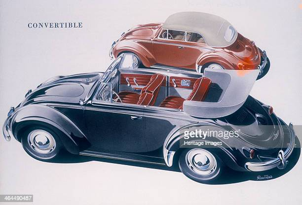 Poster advertising a Volkswagen Convertible 1959 Showing the car with the soft top up and down and the interior of the car