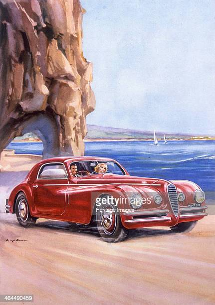 Poster advertising an Alfa Romeo 6C 2500 Super Sports 1948 A smiling couple driving along the coast