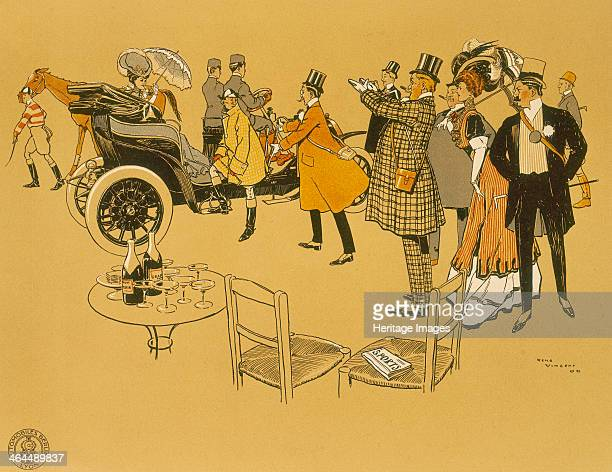 Poster advertising Berliet cars 1906 Welltodo people watch an elegant woman with a parasol in a Berliet car