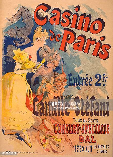 Poster advertising Casino de Paris with Camille Stéfani Concertspectacle bal Showing Camille Stéfani with acrobats and jesters