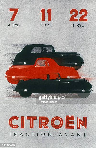 Poster advertising Citroën cars from the Traction Avant catalogue 1934 The 7 11 and 22 models are advertised including 4 and 8cylinder versions...