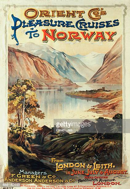 A poster advertising cruises from London and Leith to Norway run by the Orient Company