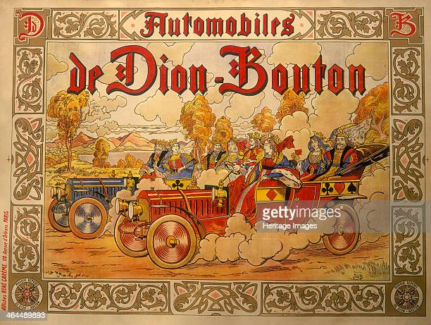 Poster advertising De Dion Bouton cars Kings and queens from packs of playing cards race each other in De Dion cars decorated with hearts clubs...