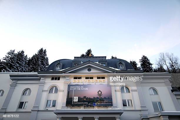 A poster advertising investment in Egypt stands outside the Steigenberger Grandhotel Belvedere ahead of the World Economic Forum in Davos Switzerland...
