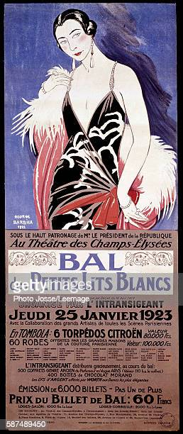 Poster advertising Le Bal des Petits lits blancs at the Theatre des ChampsElisees Charitable ball organized by the newspaper the Intransigeant for...