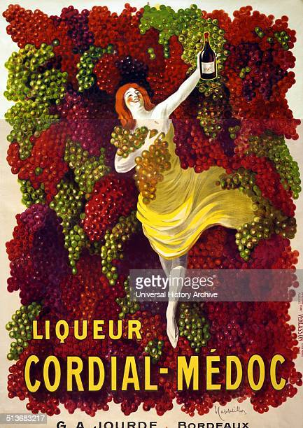 Poster advertising Liquor CordialMedoc by G A Jourde Bordeaux Shows a woman holding a bottle and grapes against a background of grapes