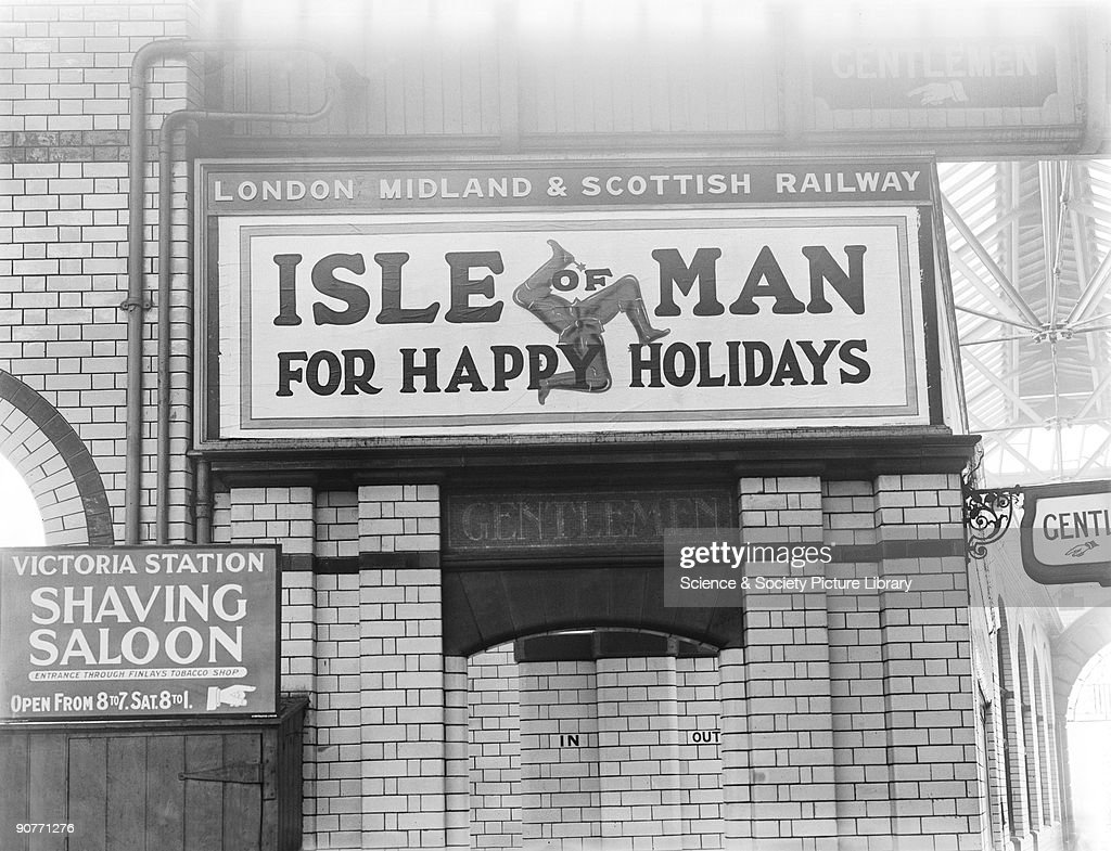 Poster advertising the Isle of Man, Manchester Victoria Station, 1925. : News Photo