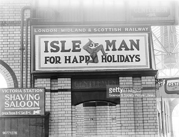 Poster advertising London Midland Scottish Railway holidays to the Isle of Man The LMS provided rail connections to ferries and to trains when the...