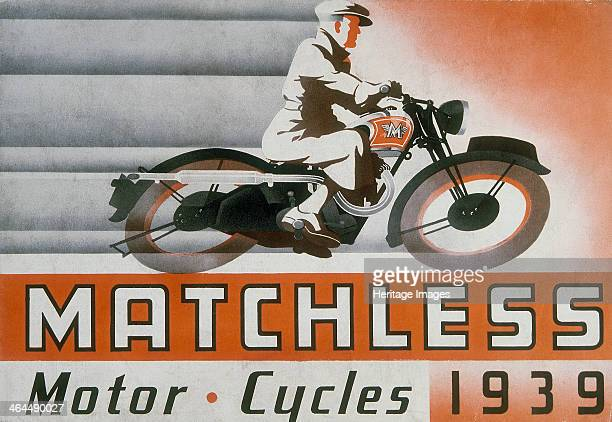 Poster advertising Matchless motor bikes, from a brochure, 1939. A man in a cap and raincoat, with a stylised design of parallel lines indicating...