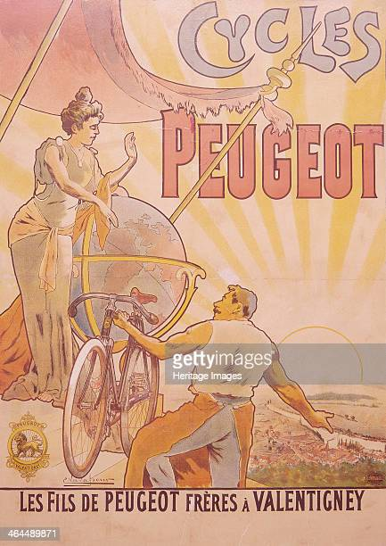 Poster advertising Peugeot bicycles late 19thearly 20th century A muscled man in an apron holds a bicycle with one hand and points to the town of...