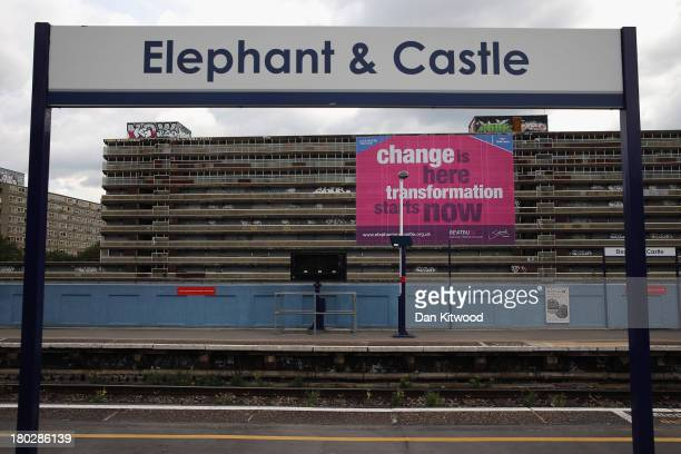 A poster advertising regeneration hangs on the Heygate Estate on September 10 2013 in London England