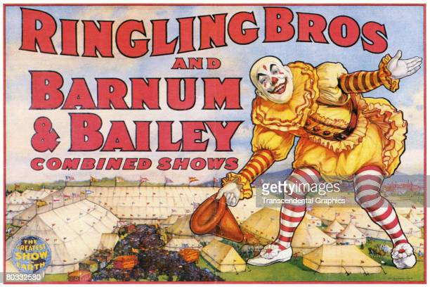 Poster advertising Ringling Brother's and Barnum Bailey Combined Show circus features a giant clown who bows and tips his hat as he towers above the...