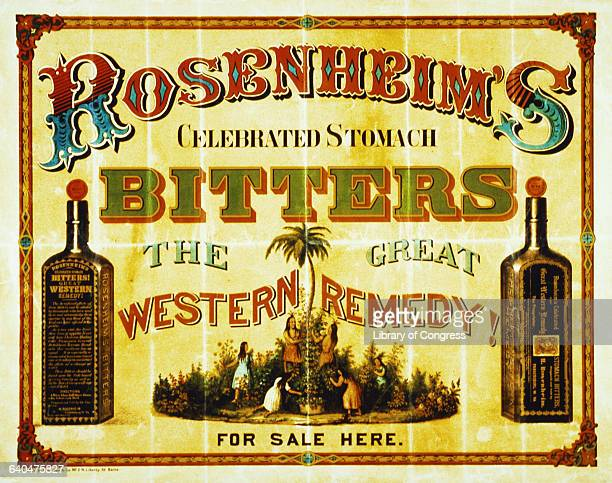 A poster advertising Rosenheim's stomach bitters as the great Western remedy depicting people picking herbs between two bottles of bitters