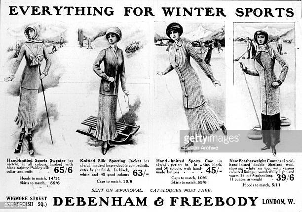 A poster advertising sports clothing from 'Debenham and Freebody'